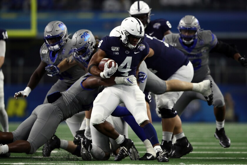Penn State running back Journey Brown carries the ball during the Nittany Lions' win over Memphis in the Cotton Bowl.