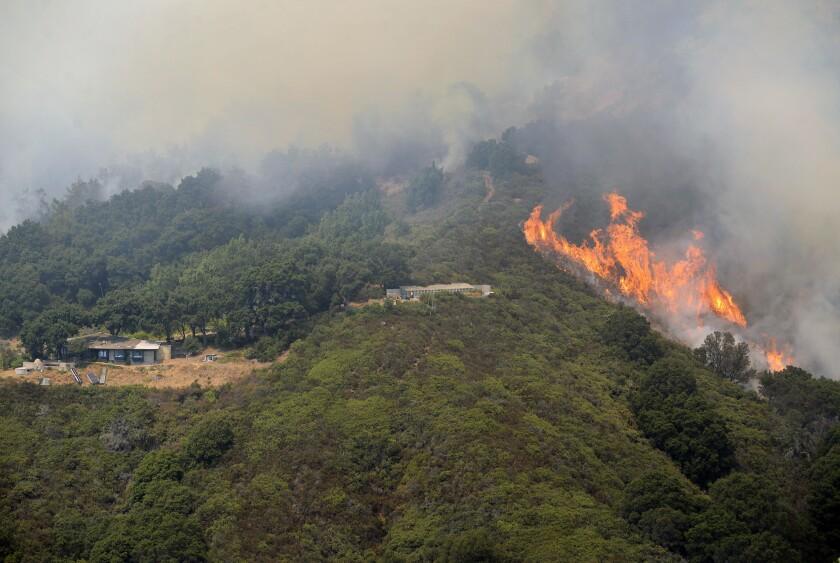 The Soberanes fire burns in Palo Colorado Canyon in the Big Sur region last week.