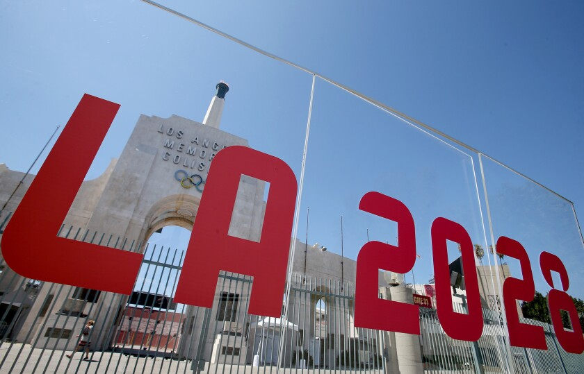 The words L.A. 2028 are displayed outside the Coliseum.