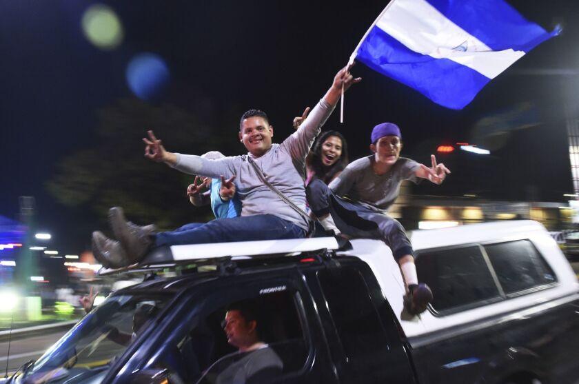 Supporters of Nicaraguan President Daniel Ortega celebrate in Managua  on Nov. 7, 2016, after the presidential election.
