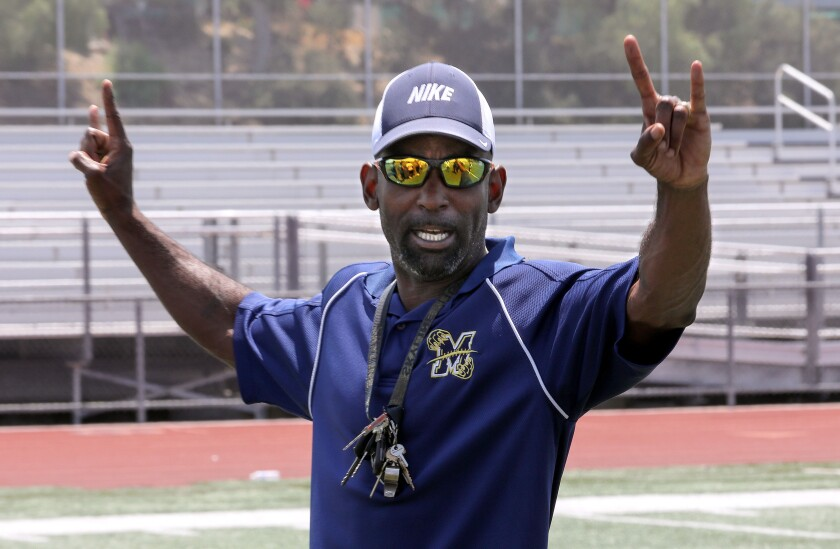 Tracy McNair, head coach of the Morse High School football team, during practice.