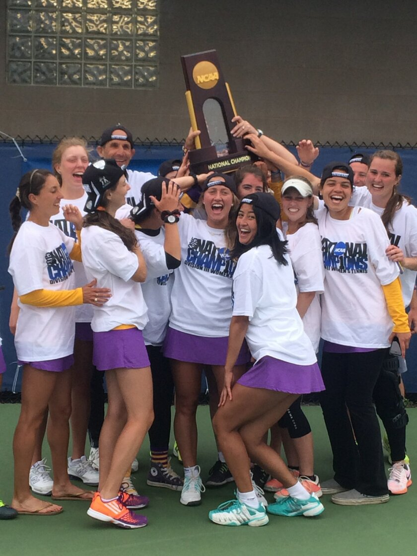 Williams College women's tennis team co-captain Monica Pastor of Rancho Santa Fe is at center with the trophy. Courtesy photo