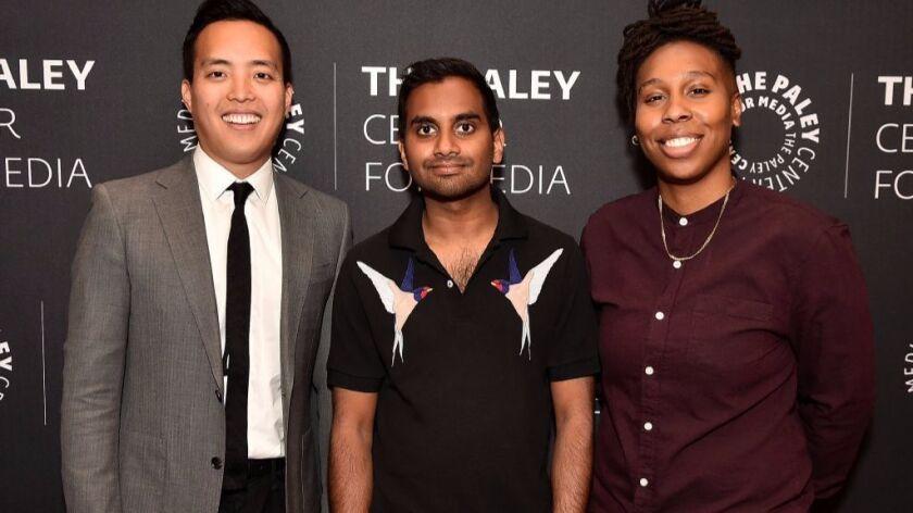"""Master of None"" creators Alan Yang, left, and Aziz Ansari, with Lena Waithe, a writer and actress o"