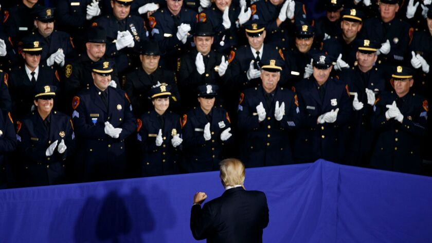 President Trump speaks to cops in New York
