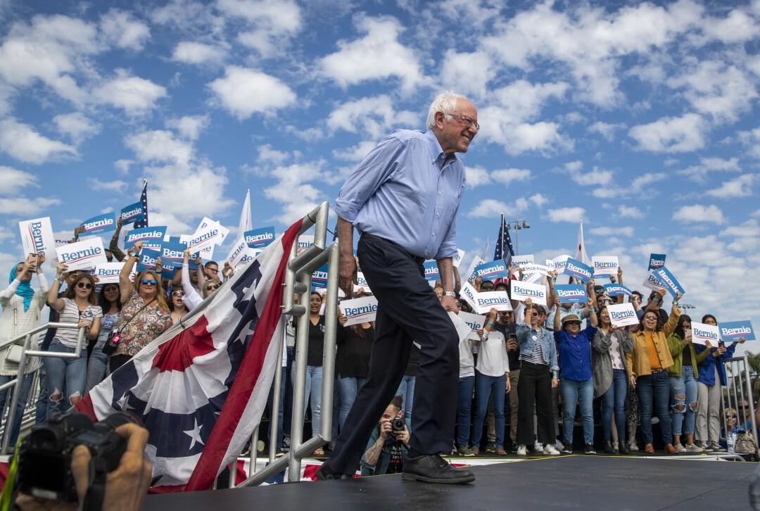 Bernie Sanders takes the stage in Santa Ana