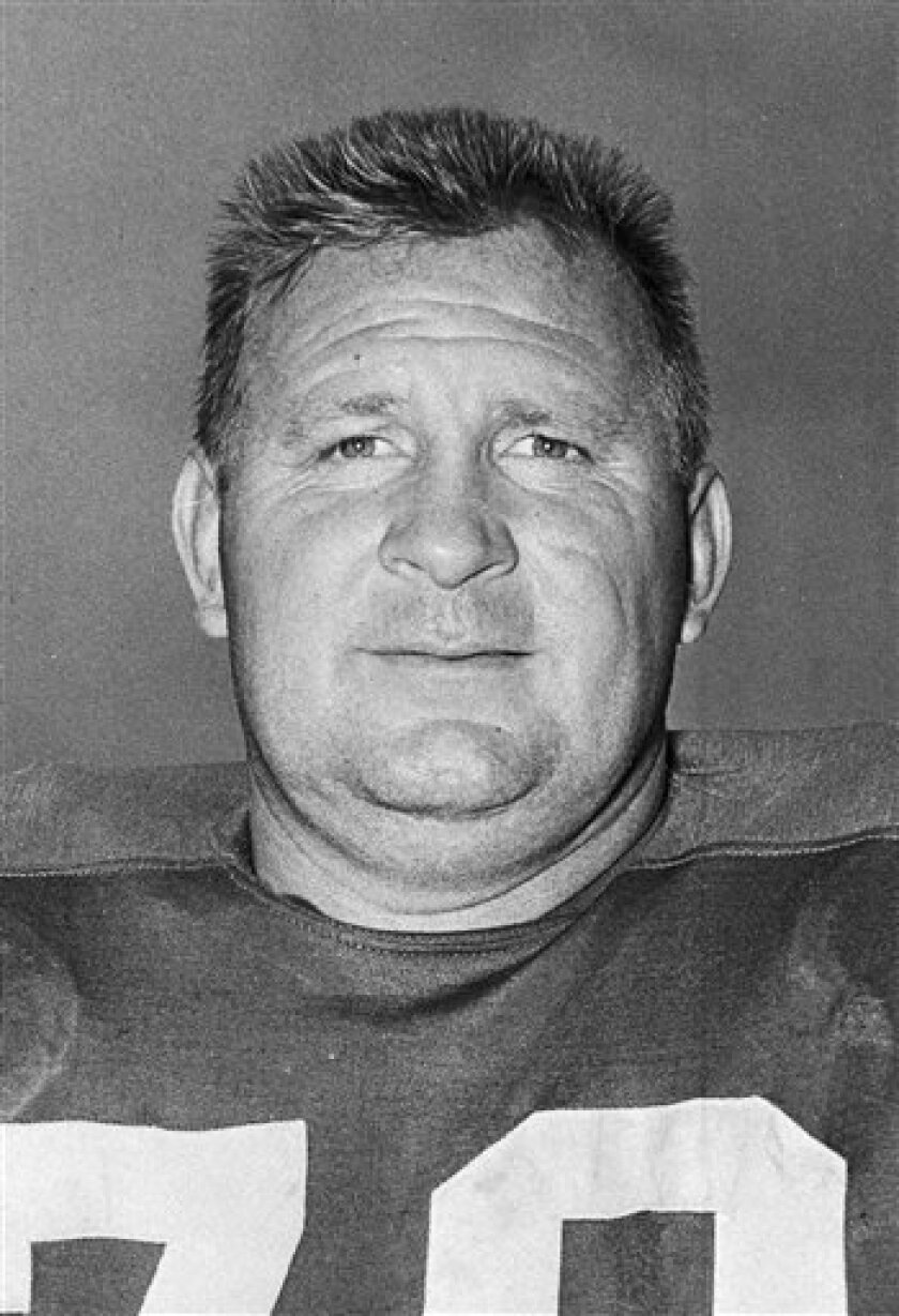 File- This Jan. 14, 1959 file photo shows Art Donovan, defensive tackle for the Baltimore Colts. Donovan, the Hall of Fame defensive lineman who spent much of his 12-year career with the Baltimore Colts, has dead. He was 89. Donovan died Sunday Aug. 4, 2013 at 7:20 p.m. at Stella Maris Hospice in Baltimore, according to Kevin Byrne, senior vice president of the Baltimore Ravens. Back in the day when NFL players made little money, the 6-foot-3, 265-pound Donovan played for the love of the game a