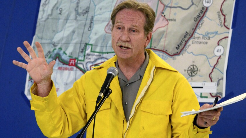 Yosemite National Park Superintendent Don Neubacher, wife of Patty Neubacher talks about the fire situation in El Portal, Calif. Neubacher is retiring after employees complained of hostile work environment in the park.