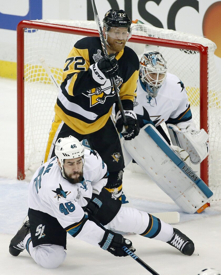 Pittsburgh Penguins' Patric Hornqvist (72) takes position between San Jose Sharks' Roman Polak (46) and Sharks goalie Martin Jones, right, during the first period in Game 2 of the NHL hockey Stanley Cup Finals on Wednesday, June 1, 2016, in Pittsburgh. (AP Photo/Gene J. Puskar)