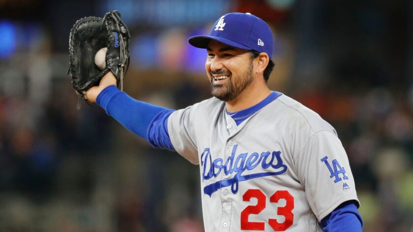 First baseman Adrian Gonzalez, traded by the Dodgers to the Braves in December to reduce their 2018 payroll, has been signed by the New York Mets to a one-year free-agent contract.