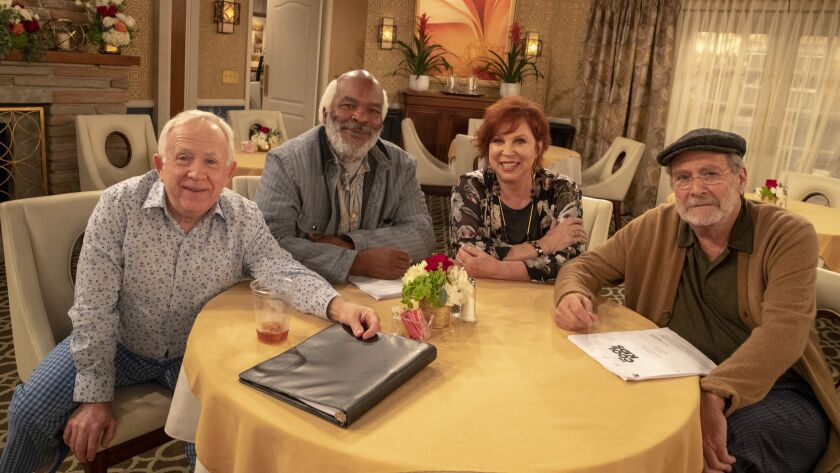 Cast of new Fox sitcom 'The Cool Kids' starring from left, Leslie Jordan, David Allen Grier, Vicki Lawrence and Martin Mull on the set in Los Angeles.