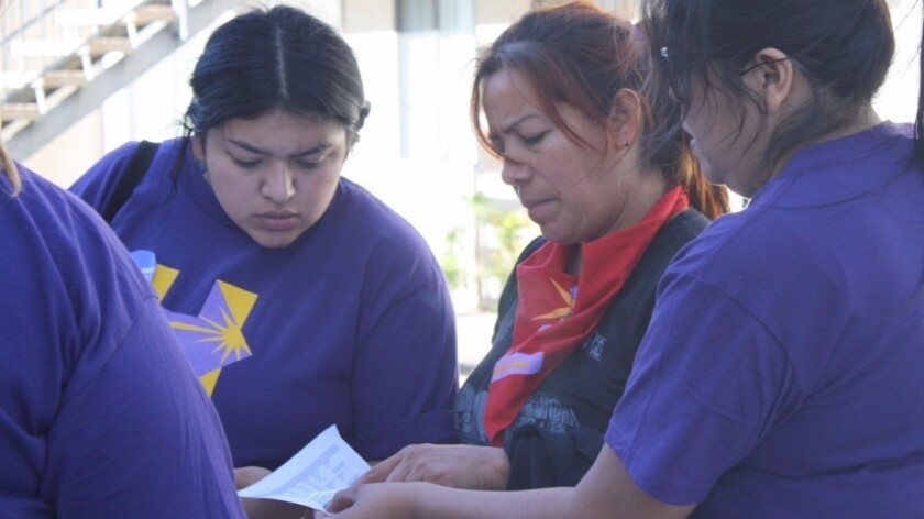 SEIU workers canvass for Hillary Clinton in Nevada