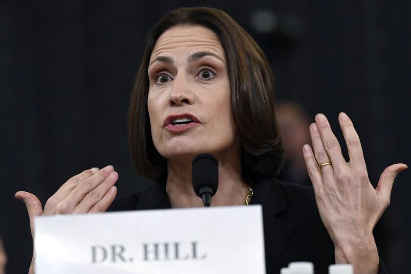 Fiona Hill, ex asesora de seguridad nacional de la Casa Blanca, declara ante la Comisión de Inteligencia
