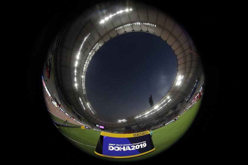 A general view shows the Khalifa International Stadium prior the start of the World Athletics Championships in Doha, Qatar, Thursday, Sept. 26, 2019. (AP Photo/Hassan Ammar)