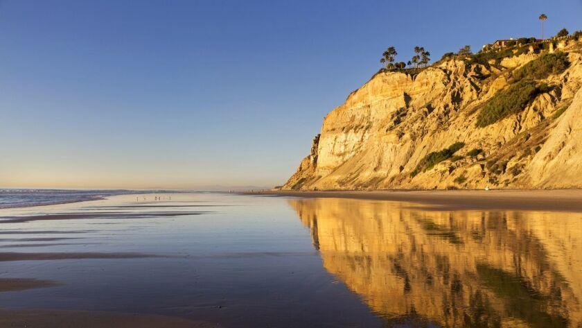Eroded Sandstone Cliffs Reflected on Torrey Pines State Beach La Jolla San Diego California