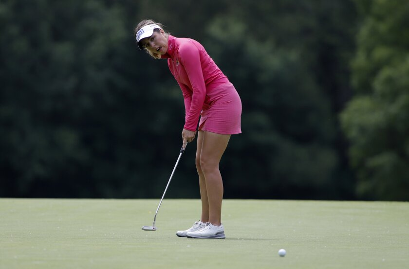 Georgia Hall, of England, putts on the 16th green during the final round of the Meijer LPA Classic golf tournament, Sunday, June 20, 2021, in Grand Rapids, Mich. (AP Photo/Al Goldis)