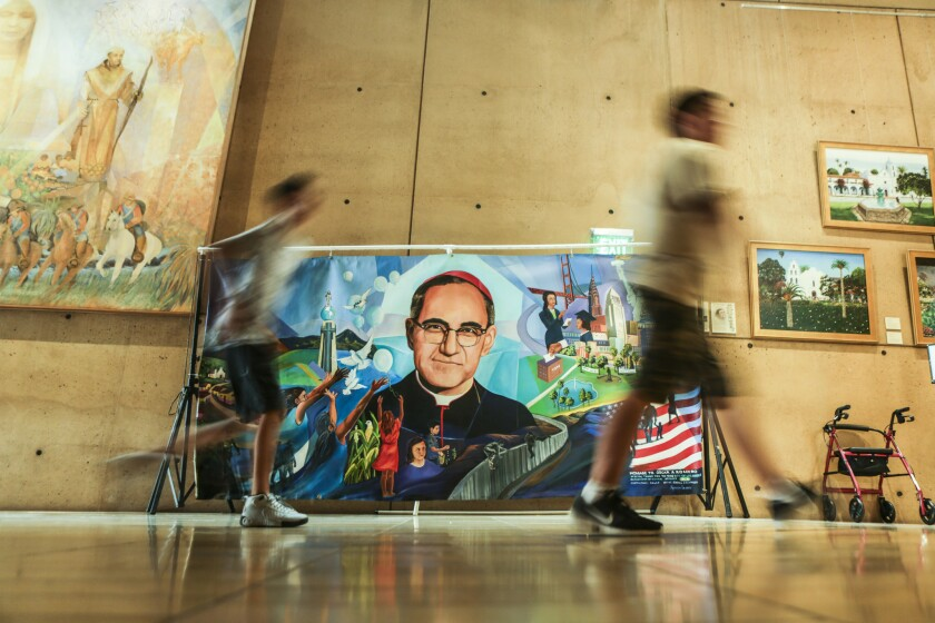 An art installation of Archbishop Oscar Romero is displayed in the hall of the Cathedral of Our Lady of the Angels in downtown Los Angeles, where a special Mass was said for the priest who was assassinated in 1980.