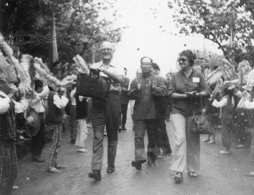 Chancellor William McElroy (left) during UC San Diego's inaugural trip to China in 1979.