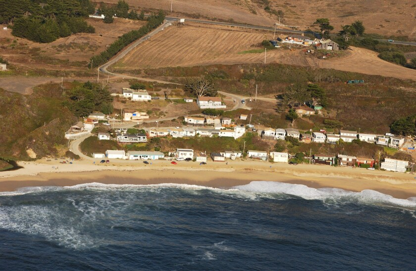 An aerial view of the road that leads to what's known as Martins Beach.