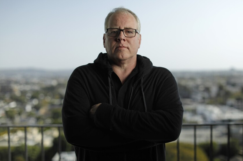 Los Angeles author Bret Easton Ellis at his West Hollywood home. He will appear at 11 a.m. April 14 at the L.A. Times Festival of Books.