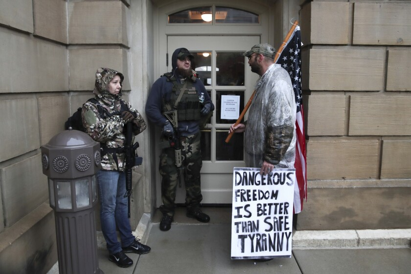 Armed protesters at the Michigan State Capitol