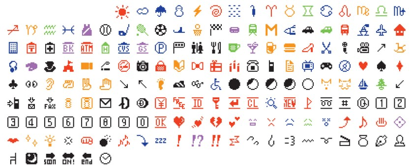 The original set of emoji, designed by Shigetaka Kurita, and released to Japanese cellphone users in 1999 — now acquired by MoMA.