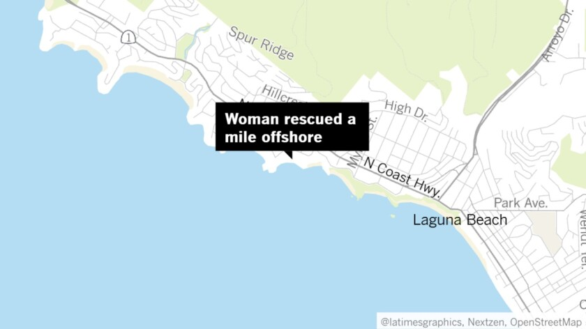 Woman rescued a mile offshore of Laguna Beach
