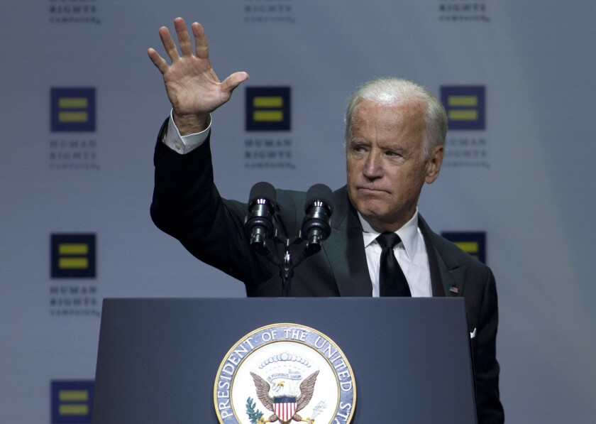 Vice President Joe Biden waves to the crowd after he speaks at the Human Rights Campaign National Dinner in Washington, D.C. on Saturday.