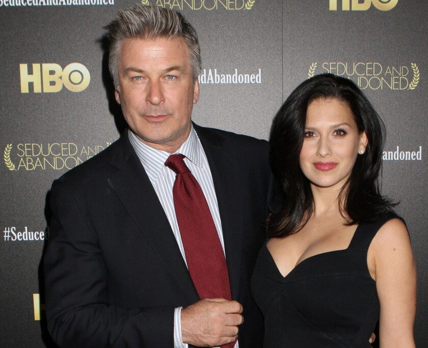 """Alec Baldwin and wife Hilaria Baldwin attend the HBO premiere of """"Seduced and Abandoned"""" at The Time Warner Center in New York."""
