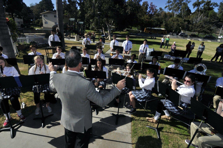 Led by David Hall, the Santa Fe Christian School band entertained