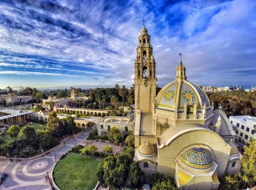 Overall view of Balboa Park and the California Tower in the early morning on Sunday in San Diego, California.