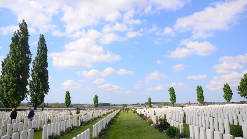 The Tyne Cot Commonwealth War Graves Cemetery outside Ypres, Belgium.