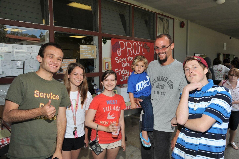 Jake Sterling, sister of Lauren Jacobsen, Lauren Jacobsen, Libby Weber held by father/teacher John Weber, Daniel Crawford