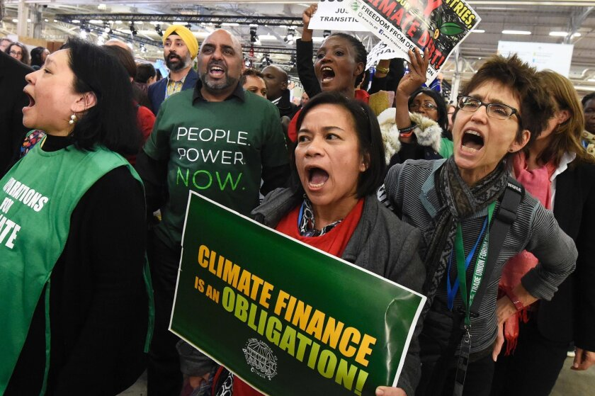 Demonstrators during the United Nations conference on climate change at Le Bourget, on the outskirts of Paris, on Dec. 9, 2015.