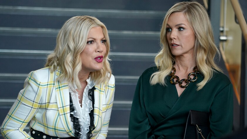 "Tori Spelling, left, and Jennie Garth in ""BH90210"" on Fox."