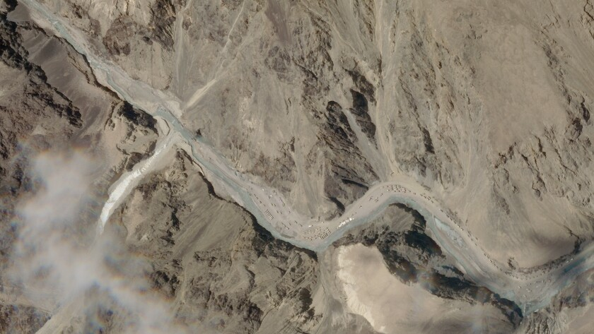 ADDS THE LOCATION DETAILS - This satellite photo provided by Planet Labs shows the Galwan Valley area in the Ladakh region near the Line of Actual Control between India and China Tuesday, June 16, 2020. A clash high in the Himalayas between the world's two most populated countries claimed the lives of 20 Indian soldiers in a border region that the two nuclear armed neighbors have disputed for decades, Indian officials said Tuesday. (Planet Labs via AP)
