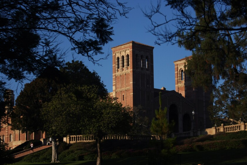 Royce Hall towers over the UCLA campus in Westwood.