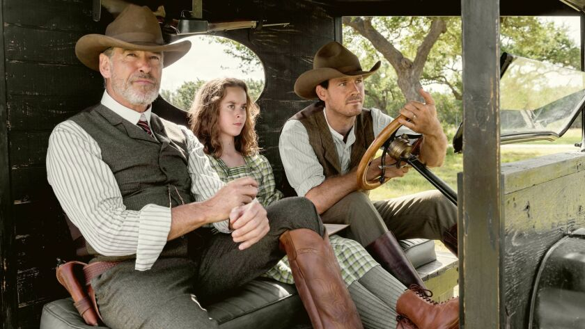 Pierce Brosnan as Eli McCullough, Sydney Lucas as Jeannie McCullough, Henry Garrett as Pete McCullou