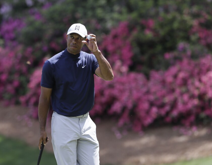 Tiger Woods on the 13th hole during the first round for the Masters golf tournament Thursday in Augusta, Ga.