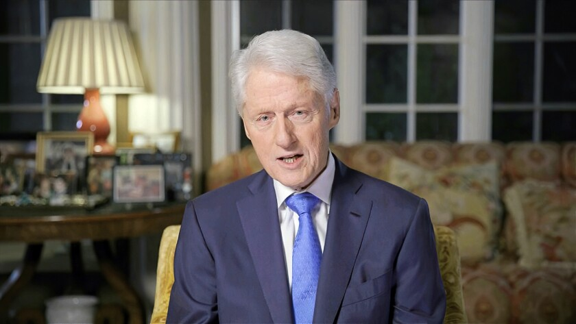 In this image from video, former President Bill Clinton speaks during the second night of the Democratic National Convention.