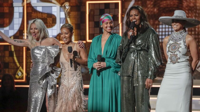 Lady Gaga, from left, Jada Pinkett Smith, Alicia Keys, Michelle Obama and Jennifer Lopez at the 61st Grammy Awards at Staples Center on Sunday.