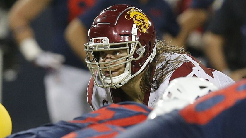 USC linebacker Porter Gustin (45) is out for the season due to injury.