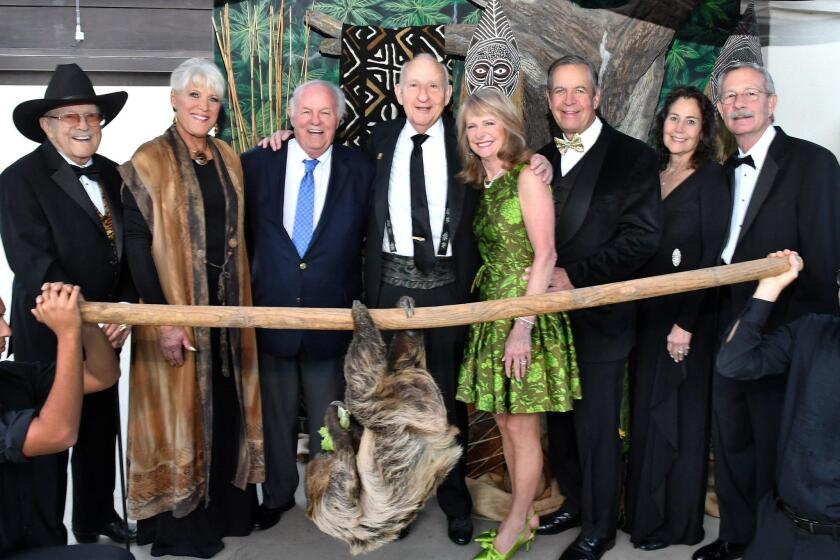 Duane Pillsbury and Joan Embery, Denny Sanford (honorary chair), Ernest Rady (honorary chair), Sue and John Major (event chairs), Barbara and Doug Myers (he's SDZG president/CEO)