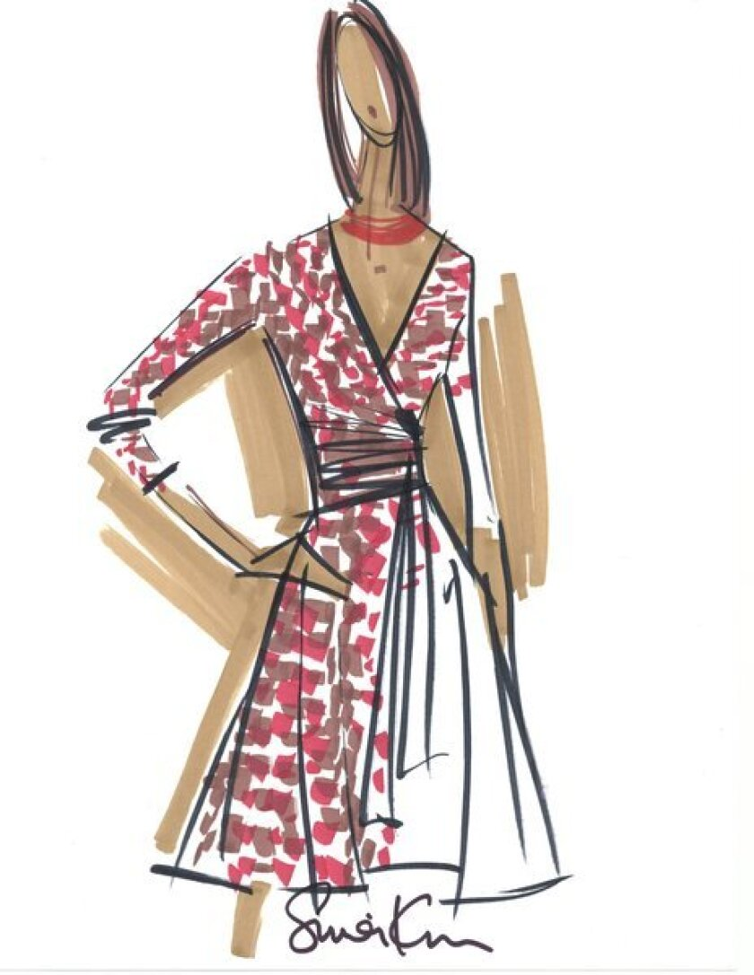 This sketch shows a dress in a ceramic print from Issa London's capsule collection for Banana Republic.