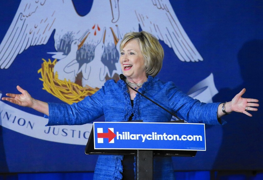 Democratic presidential candidate Hillary Rodham Clinton campaigns in Baton Rouge, La., on Monday.