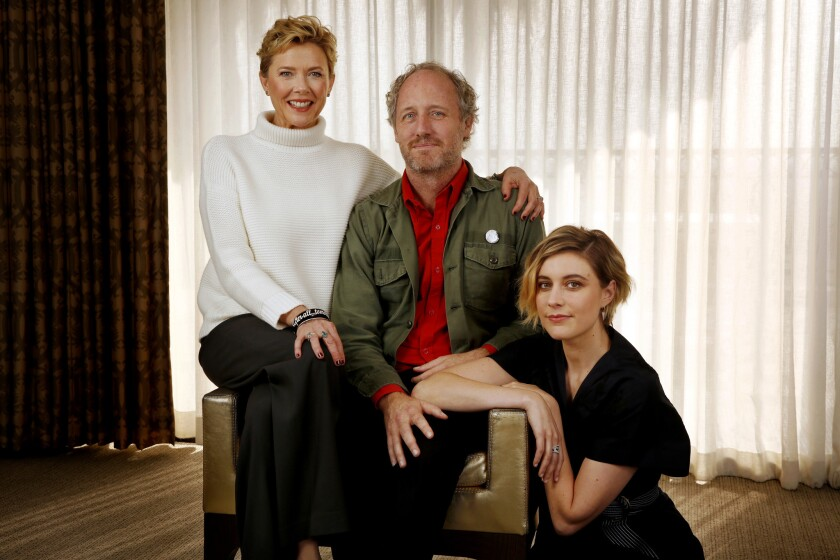 """Actresses Annette Bening, left, and Greta Gerwig with writer/director Mike Mills for """"20th Century Women."""""""