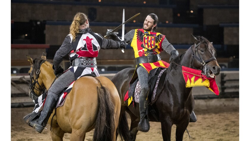 Phil La Croix, left, as Iofre Santa Creu, and Zack Synder, as Lord Del Font, rehearse a fight scene
