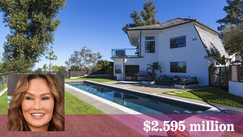 Actress Tia Carrere has listed her hilltop home in Topanga at $2.595 million.
