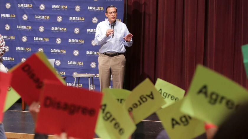 Representative Darrell Issa (R-Calif.) speaks at a town hall meeting at a high school in San Juan Capistrano, California, on June 3, 2017.