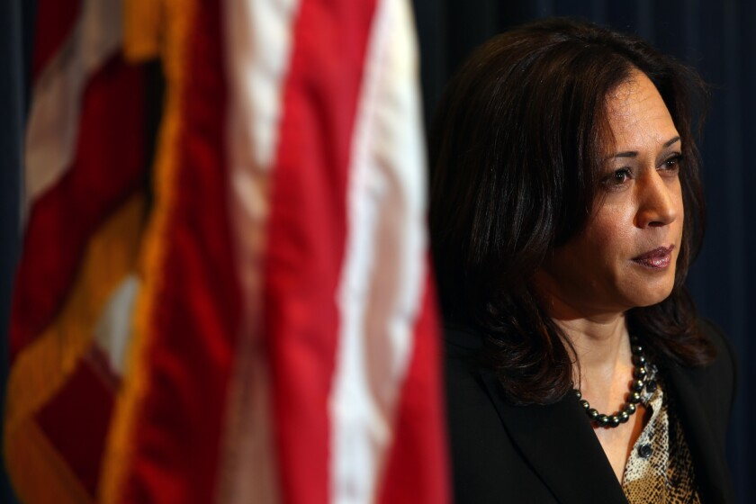 Atty. Gen. Kamala D. Harris at a San Diego news conference.