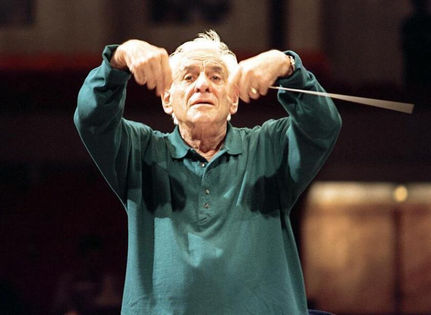 This picture taken 31 August 1989 in Warsaw shows Leonard Bernstein during a rehearsal. EFE/EPA/FILE